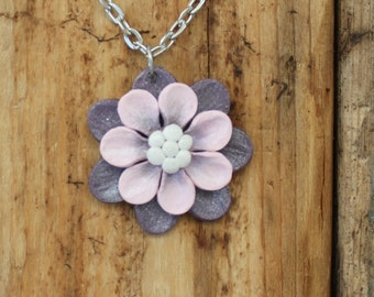 Whimsical Flower Pendant Necklace - Purple and Pink Layered Petals