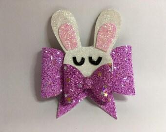 bunny hair clip, bunny hair bow, hair accessories, girls gift, easter gift, girls hair accessory, bunny, rabbit hair clip, bunny bow