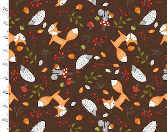Forest Friends, brown background, Forest animals, animal fabric, fox fabric, by 3 Wishes, 11732