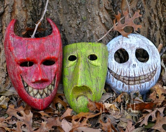 Nightmare Before Christmas Decorations/ Tim Burton/Small Size Lock Shock Barrel Masks/ Glow in the dark