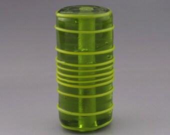 SRA Lampwork Focal Bead Handmade Lampwork Beads Green Glass Bead Modern Geometric Bead Linework Texture Bead Focal Heather Behrendt 3531