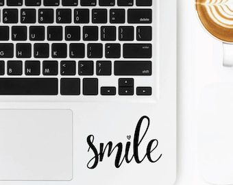 Smile Motto | Motivational Positive Sayings Quotes Coffee Macbook Laptop | Removable Motto Sticker