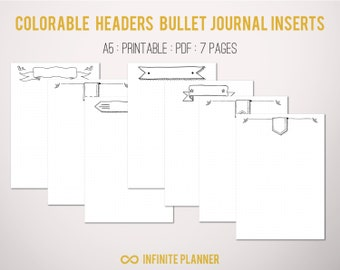 Bullet journal pages with cute colorable headers, 7 pages - Bullet Journal Printable