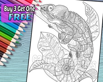 Cool Chameleon - Adult Coloring Book Page - Printable Instant Download