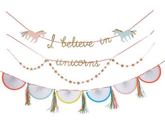 "Unicorn Garland, Unicorn Banner, Unicorn Birthday, Meri Meri Unicorn Decoration, ""I Believe in Unicorns"" pinwheel garland, gold glitter"