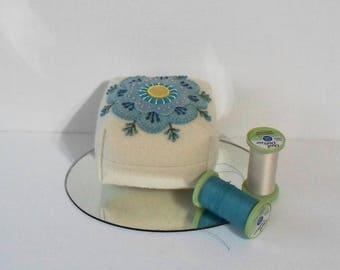 Handmade Pincushion Felted Wool Blue & White Floral Square Pincushion