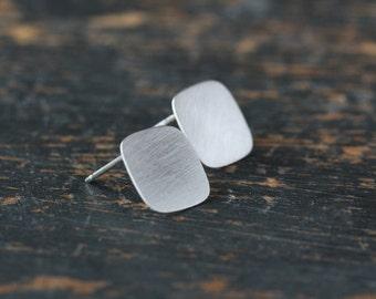 Silver Square Earrings, Sterling Silver Modern Earrings, Geometric Jewelry, Simple Silver Earrings, Minimalist Jewelry, Silver Posts