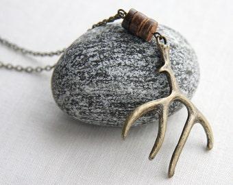 Outdoors Gift Deer Jewelry Elk Antler Necklace Woodland Jewelry Antique Bronze Rustic Wedding Men Hunt Gift for Hunter mens custom necklace