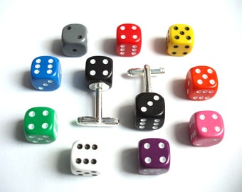 Dice Cufflinks. - Wedding Cufflinks, Novelty Cufflinks, Silver Plated Cufflinks