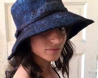 Hand Felted Hat, Indigo Felt Hat, Blue Wool Hat, Felted Indigo Hat, Felted Hat, Fall 2017