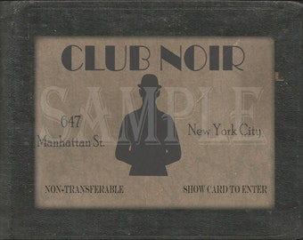 Club Noir Speakeasy Card Printable 1920s Sign Prohibition Roaring 20s Style Art Deco Gatsby Party Wedding Centerpiece Bar Front Door Sign