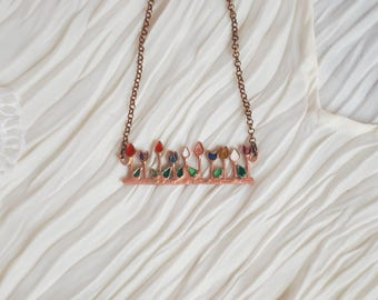 Necklace Blossom. Flower necklace. Necklace with flowers, Copper flowers, Tulip necklace, Spring necklace, Glass flowers,
