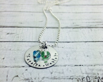 Personalized hand stamped mothers stainless steel necklace