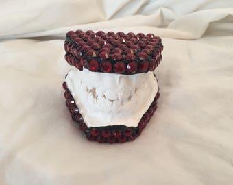Dazzling Red Rhinestone Plaster Dental Teeth Mold