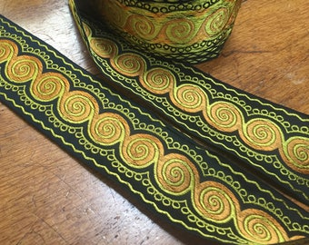 Vintage Circular Design French Brocade Ribbon, Black, Yellow, Amber, 2 1/8 inches wide