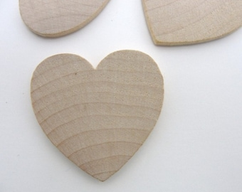 """50 Wooden hearts 1 1/2 inch (1.5"""") wide 1/8 inch thick unfinished wood hearts diy"""