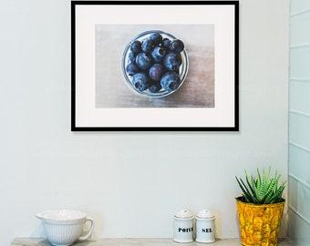 blueberry print food photograph kitchen art fruit photograph kitchen wall art kitchen print summer rustic fruit print navy blue silver