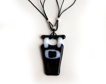 Fused glass Black and White Pendant