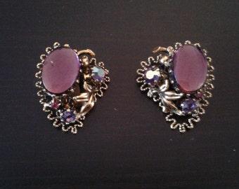 Mauve purple rhinestone Austrian earrings
