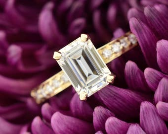 Emerald Moissanite Engagement Ring, Moissanite Engagement Ring, Emerald Cut Engagement Ring,