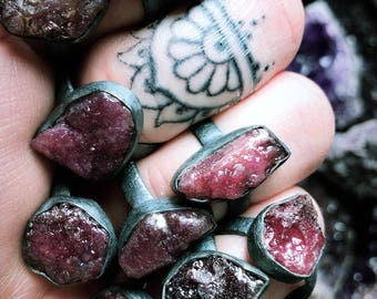 Raw ruby ring  | Ruby in silver ring