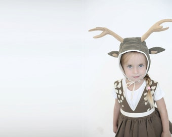 Halloween  Deer hat with antlers, Christmas gift, Halloween costume, Dress up, toddler costume, girl costume, halloween costume children