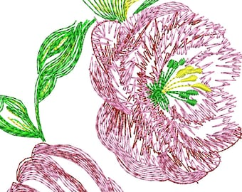 light flowers, peonies,  - Machine Embroidery Design - flower embroidery
