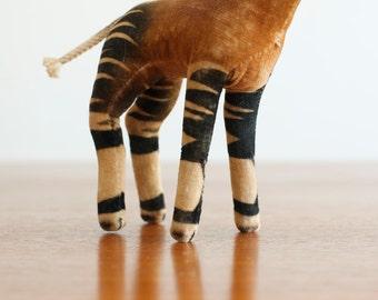 RESERVED. . . Vintage Steiff Velvet Okapi US Zone Germany - Mid Century