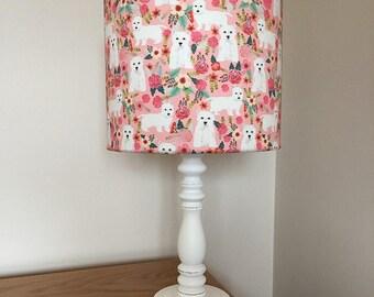 West highland terrier dog print fabric lamp