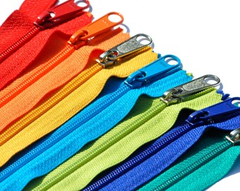 9 inch 7 assorted Colors Long Pull Handbag Zipper - YKK Number 4.5  Closed Bottom
