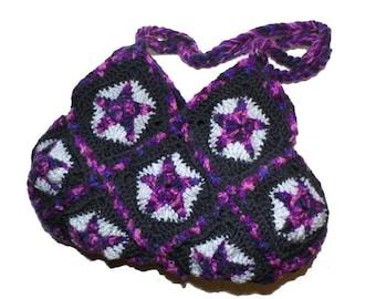 Crochet Bag * PurplE STARS *  Granny Square
