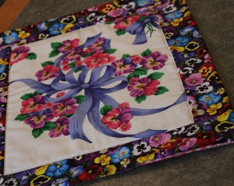 Pansy Ribbon  Floral Bouquet 17 1/2 X 14 1/2 Table Runner Topper