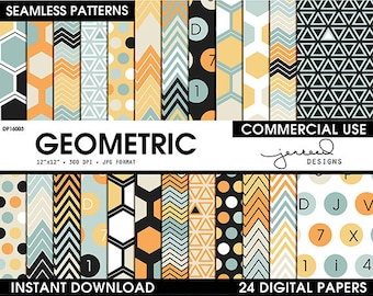 Patterned Paper || Scrapbooking Paper || Geometric || Digital Papers || Blue, Yellow, Orange, Beige || Commercial Use || DP16003