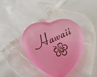 Frosted Heart Word Stone - Hawaii