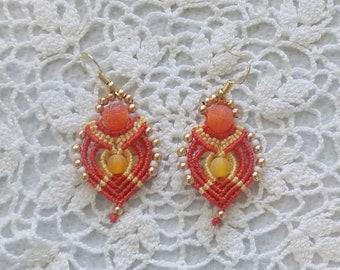Micro-Macrame Beaded Earrings Orange  Yellow Gold