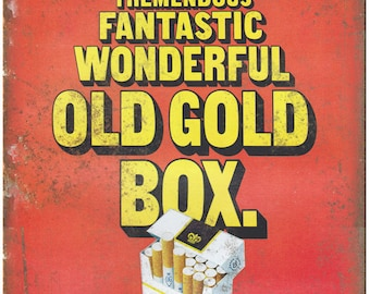 """Old Gold Filters Cigarette Ad Kings 100s 10"""" X 7"""" Reproduction Metal Sign Y08"""