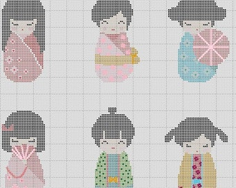 Kokeshi Dolls in Kimono 6 in 1 Japanese Cross Stitch Pattern PDF