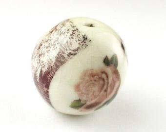 Round Ceramic Beads, Ceramic beads, Handmade Round Beads, Rose Beads, Fractal Beads, Iron Oxide Beads, Chunky Beads, White Beads