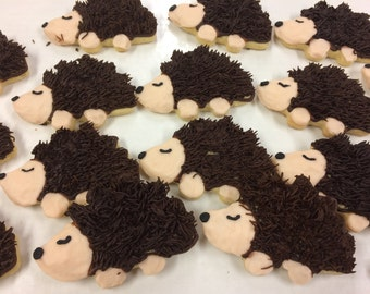 Iced Hedgehog Sugar Cookies