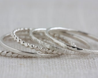 One Sterling Silver Textured Stack Ring (Thick)