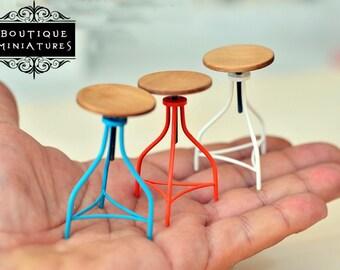 Miniatures 3x American rotating stools.  Barstool, modern, revolving, stool, iron, scale 1:12, oneinch,