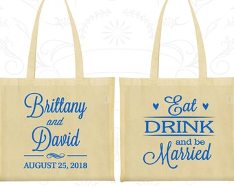 Eat Drink and Be Married Bags, Screen Printed Tote, Hearts, Wedding Day Tote (30)