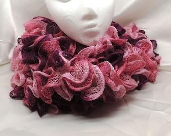 Very Pink Ruffled Knit Fashion Scarf