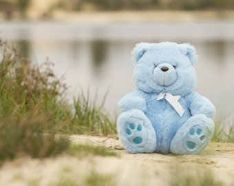 Plush furry blue bear Stuffed animal Vintage toy bear Recycled plush soft toy Plushie home decor
