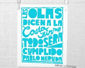Pablo Neruda Ode to Hope Spanish, Typography Print, Sympathy, Wall Art, Esperanza