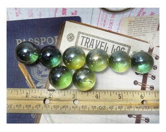 Luster Marble Green -Toy Game Marble - glass spheres - Vintage Marble lot - green Marbles -Clear glass marble - translucent Marbles  - # 21