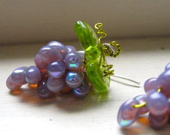 Grape Earrings New Color Milky Iredescent Lavender Glass Beads/ Wine Gifts/ Bachinalian/  Fairies/ Summer Festivals