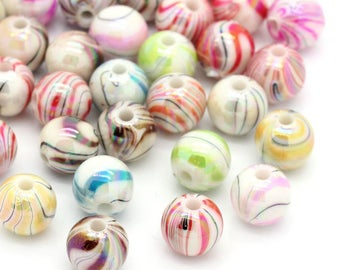 10 multicolored 8mm striped acrylic beads