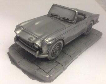 TR250 Pewter Effect 1.32 Scale Model Car Handmade In Sheffield