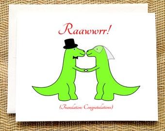 Funny Wedding Card - Trex Wedding - Dinosaur Wedding Card Funny Rawr Congratulations Wedding Card Engagement Card Funny Straight Wedding